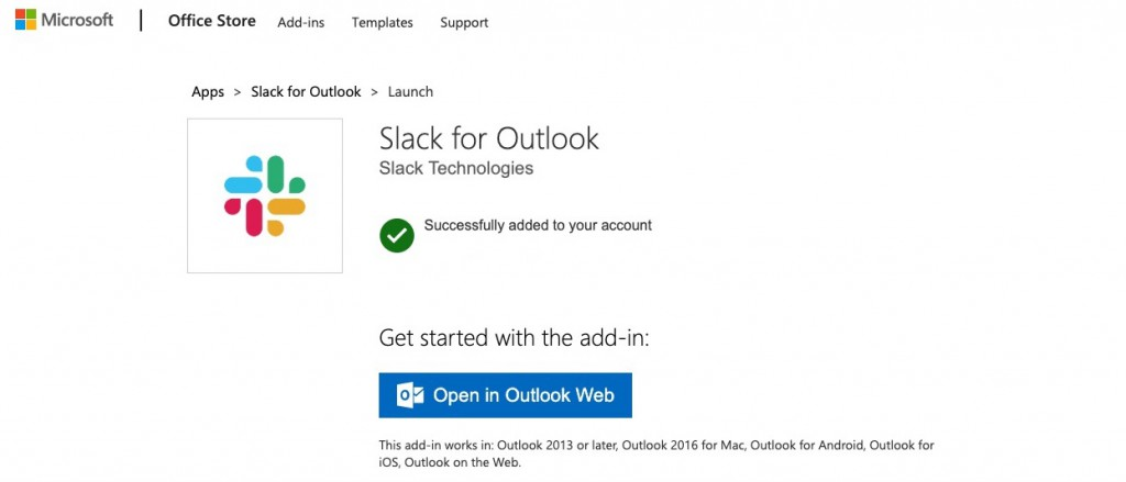 Slack for Outlook install